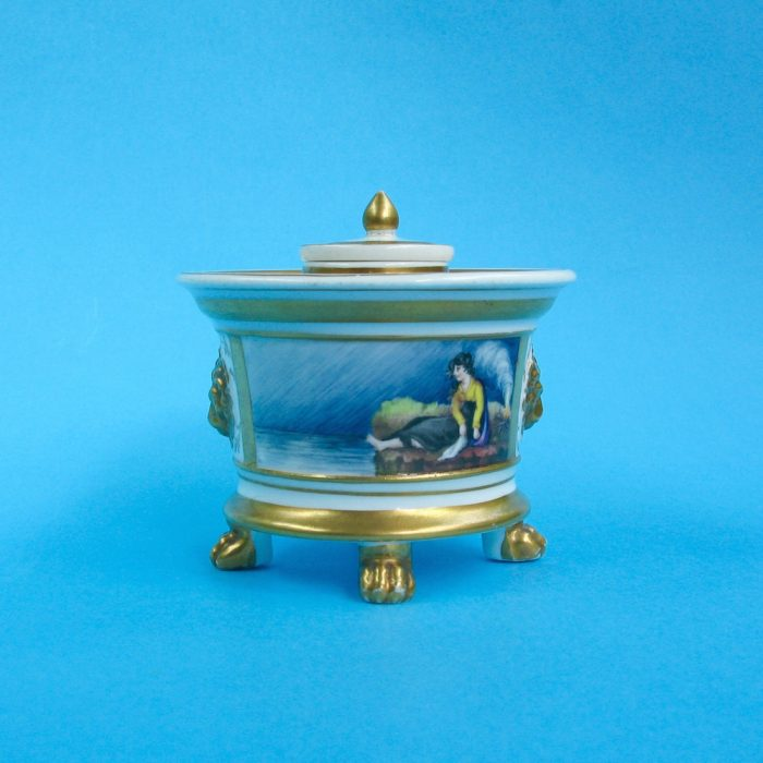 SOLD – English porcelain inkwell by William Pollard