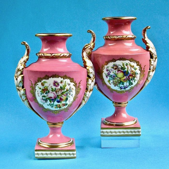 Item No. 2016 – Pair of Coalport Coalbrookdale vases