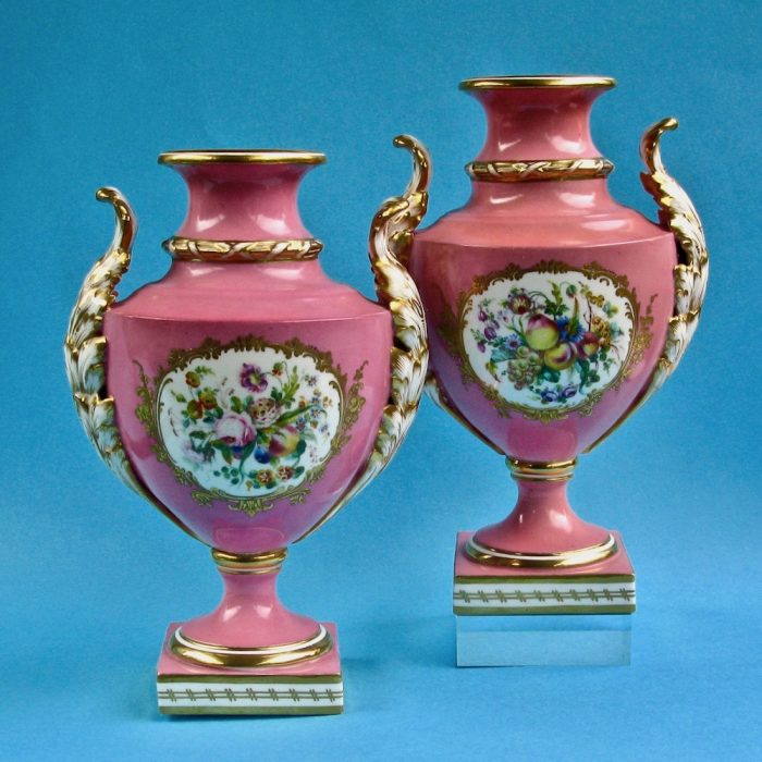 Item No. 2016 – Pair of Coalport Coalbrookdale vases
