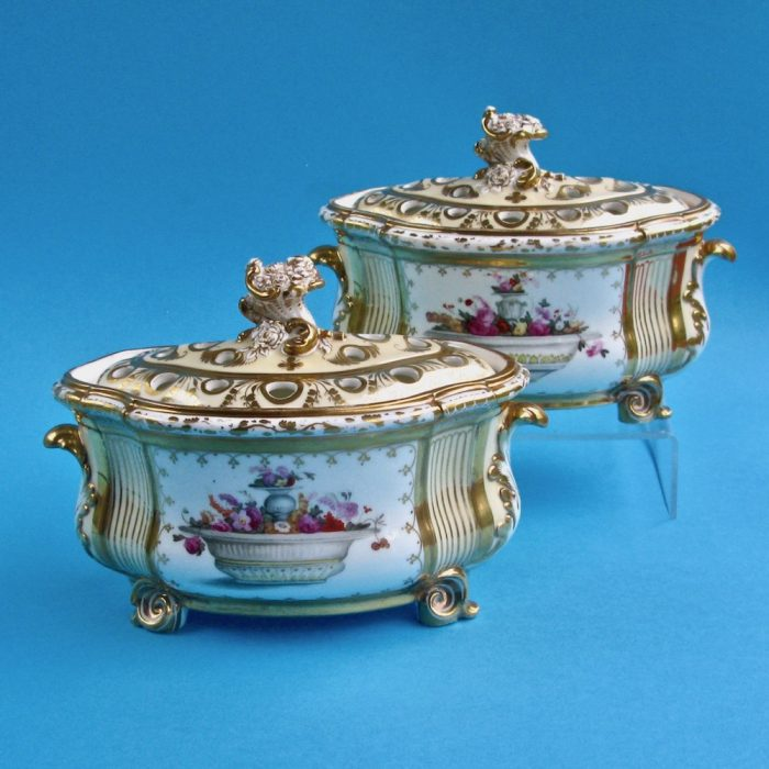 Item No. 2066 – Pair Derby bough pots
