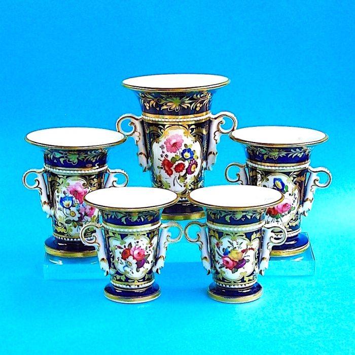 Item No. 1787 – Suite of five English porcelain vases